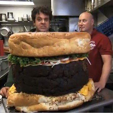 Worlds biggest burger man vs food